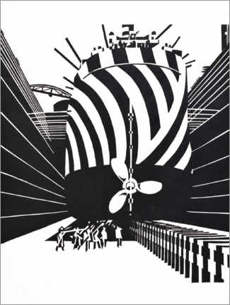 Premium poster  Camouflaged ship in dry dock - Edward Wadsworth