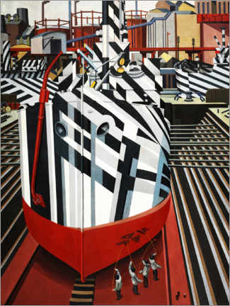 Canvas print  Dazzle ships in Liverpool's dry dock - Edward Wadsworth