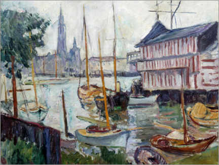 Wood print  Harbor with fishing boats - Emile Othon Friesz