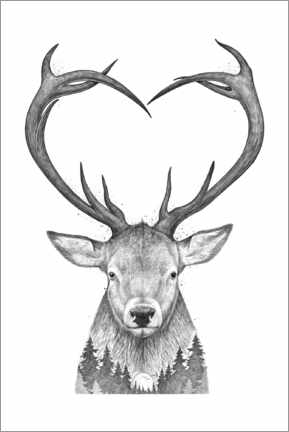 Premium poster Deer with heart