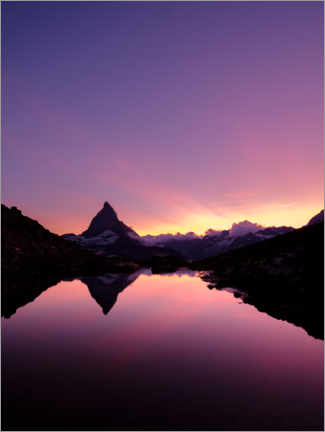 Premium poster Riffelsee with Matterhorn mountain peak