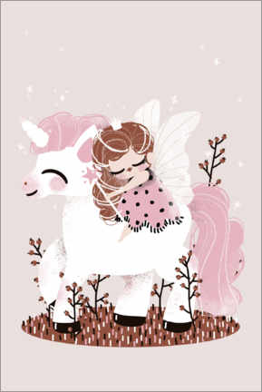 Canvas print  The fairy and the unicorn - Kanzilue