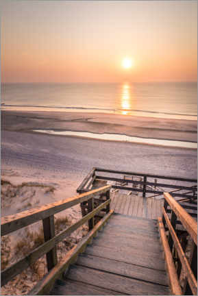 Foam board print  Sunset at the Red Cliff, Sylt - Christian Müringer