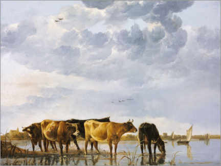 Wall sticker  Cows in a river - Aelbert Cuyp