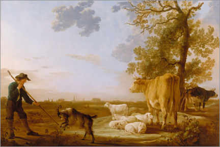 Premium poster  Landscape with cattle - Aelbert Cuyp