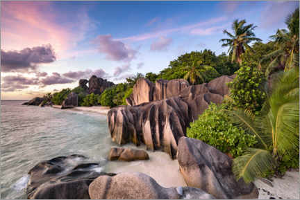 Premium poster Sunset on the beach Anse Source d 'Argent