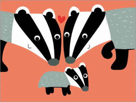 Canvas print  Badger's family - Julia Reyelt