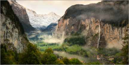 Acrylic print  Lauterbrunnen Valley and Staubbach Falls in the morning mist - Markus Ulrich