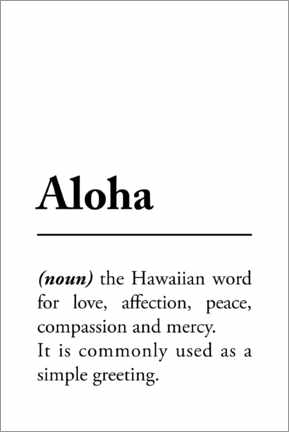 Canvas print  Aloha Definition - Typobox