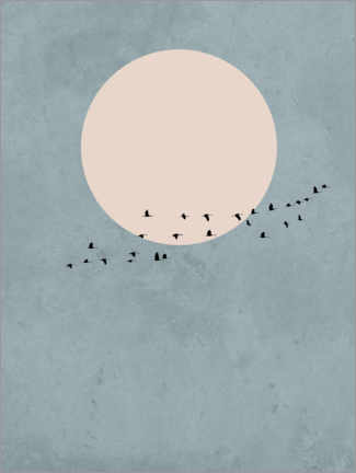 Wood print  Bird Migration to Full Moon - Finlay and Noa