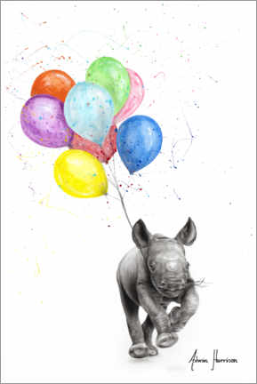Premium poster The Rhino with Balloons