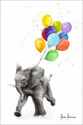 Premium poster  Baby elephant with balloons - Ashvin Harrison
