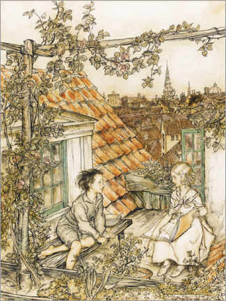 Acrylic print  Kai and Gerda on the roof - Arthur Rackham