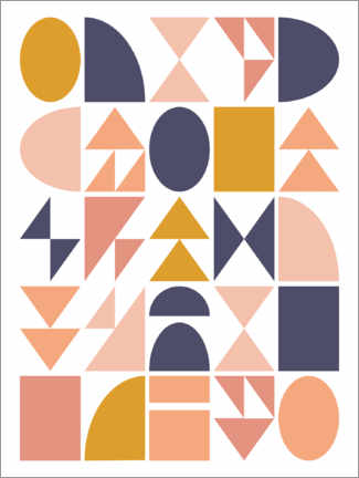 Wood print  Geometric Shapes - apricot and birch
