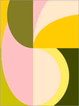 Premium poster Abstract Shapes in Pink and Green