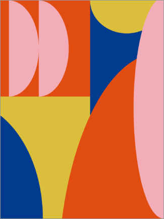 Premium poster Abstract Shapes in Primary Colors