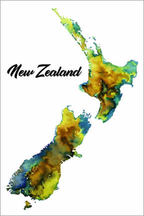 Canvas print  Map of New Zealand - Ricardo Bouman