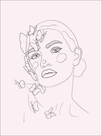 Premium poster Girl with butterflies, rose
