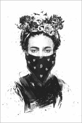 Wood print  Rebel Frida - Balazs Solti