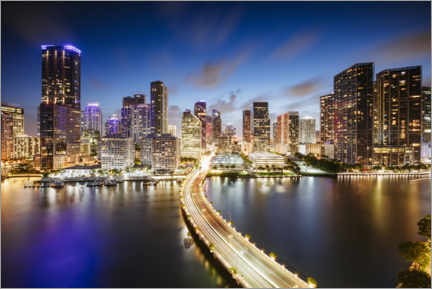 Premium poster  Downtown Miami at night - Matteo Colombo