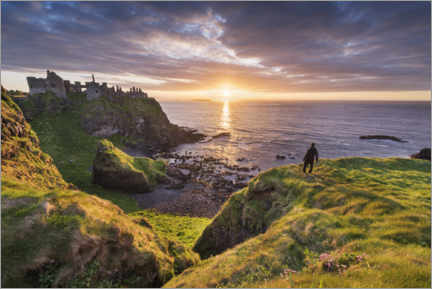 Wood print  Wanderer looks out over Ireland's coast - The Wandering Soul
