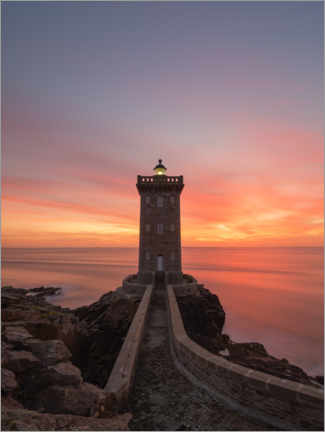 Premium poster  Sunset at the Kermorvan lighthouse - Jos Pannekoek