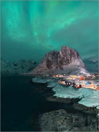 Premium poster  Aurora borealis over Reine on the Lofoten, Norway - Jos Pannekoek