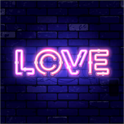 Wood print  Love - neon sign - TAlex