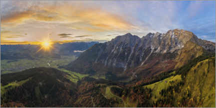 Premium poster Hoher Göll with a view of the Salzach Valley at sunrise