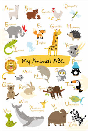 Wood print  My animal ABC II (English) - Julia Reyelt
