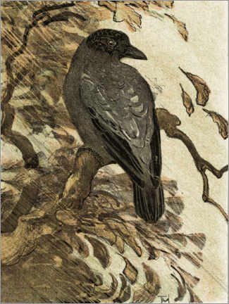 Premium poster  Hooded crow on a branch - Theo van Hoytema