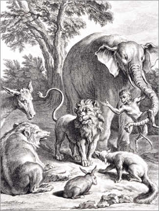 Foam board print  The lion who wanted to go to war - Jean-Baptiste Oudry