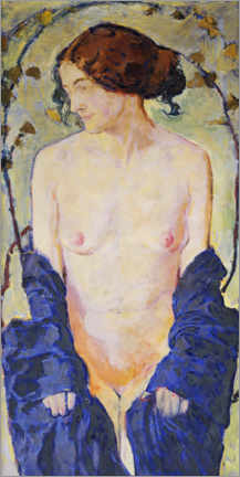Canvas print  Standing nude with a blue robe - Koloman Moser