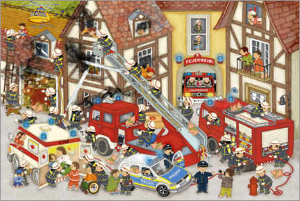 Premium poster  Firefighters in my village - Marion Krätschmer