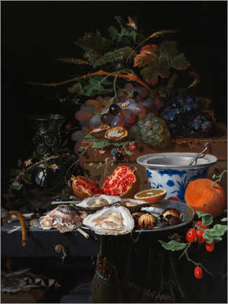 Canvas print  Still life with fruits and oysters - Abraham Mignon