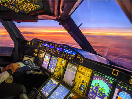 Canvas print  A380 cockpit at dusk - Ulrich Beinert