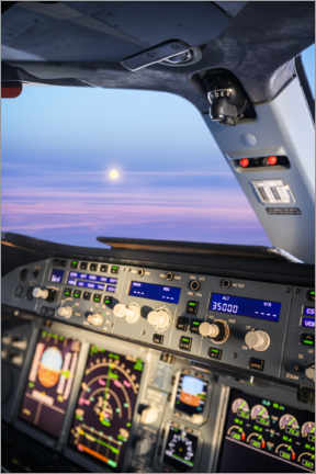 Premium poster  Airbus A380 cockpit with rising moon - Ulrich Beinert