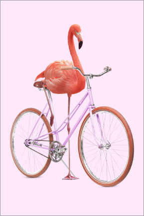 Wood print  Flamingo Bike - Jonas Loose