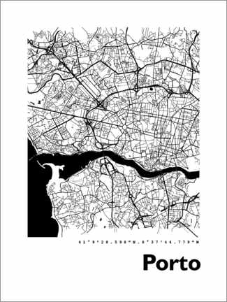 Premium poster  Porto city map - 44spaces