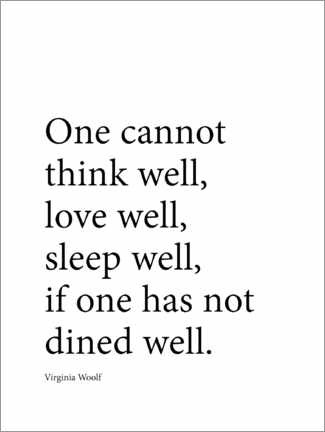 Premium poster  Dine well - Virginia Woolf quote - Finlay and Noa