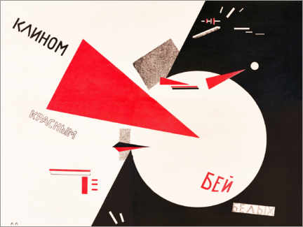 Aluminium print  Hit the Whites with the Red Wedge - El Lissitzky