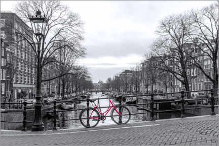 Premium poster  Red Bicycle in Amsterdam - George Pachantouris
