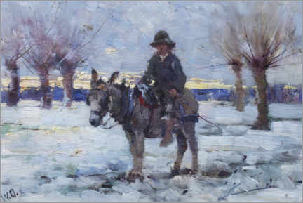 Canvas print  Boy on a donkey in a snowy landscape - Walter Frederick Osborne