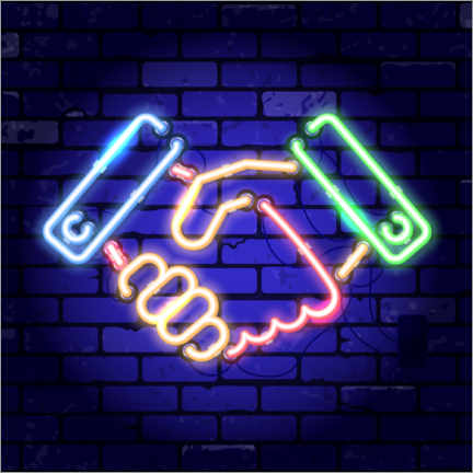 Canvas print  Shaking hands - neon sign - TAlex
