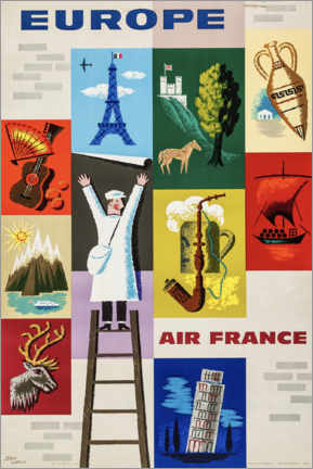 Wood print  Europe via Air France - Travel Collection