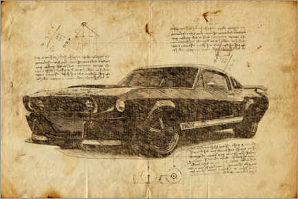 Foam board print  Vintage Mustang Eleanor - Durro Art