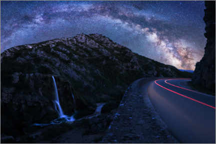 Premium poster Milky Way over panoramic road