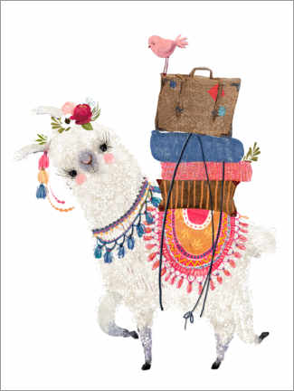 Premium poster Llama with luggage