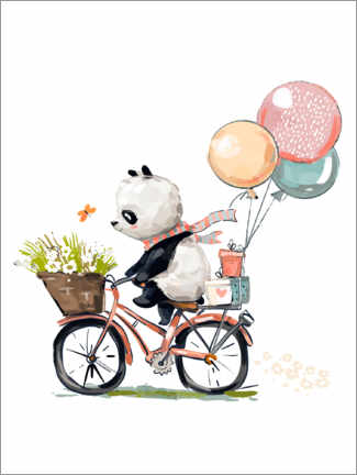 Premium poster  Panda on a Bike - Kidz Collection