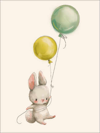 Wood print  Bunny with Balloons - Kidz Collection